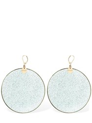 Missoni Large Glittered Resin Disc Earrings Green