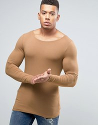 Asos Extreme Muscle Long Sleeve T Shirt With Boat Neck Brown