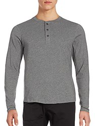 Alternative Apparel Heathered Henley T Shirt Oxford Grey