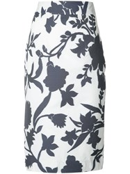 Milly Floral Print High Waist Skirt Women Cotton Polyester 8 White