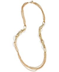 Robert Lee Morris Soho Gold Tone White Shell Link Multi Chain Long Necklace