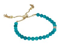 Cole Haan Semi Precious Pull Tie Bracelet Gold Turqouise Crystal Bracelet Blue