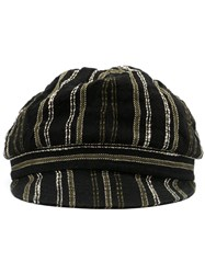 Horisaki Design And Handel Woven Stripe Hat Black