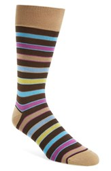 Bugatchi Men's Stripe Socks Mocha