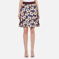 Sportmax Code Women's Nasca Floral Knitted Skirt Bordeaux Multi