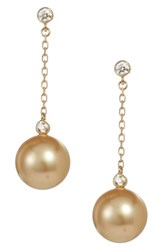 Mikimoto South Sea Cultured Pearl And Diamond Drop Earrings Yellow Gold