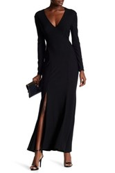 Christian Siriano New York Long Sleeve Backless Stretch Crepe Dress Black