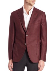 Isaia Solid Wool And Cashmere Blazer Dark Red