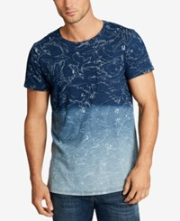 William Rast Men's Jim Ombre Graphic Print Cotton Pocket T Shirt Indigo Bird