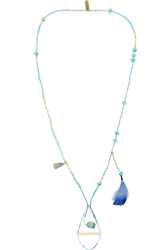 Etro Turquoise Bone And Feather Necklace