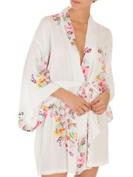 In Bloom Multicolored Floral Robe Ivory Rose