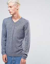 Asos Merino V Neck In Blue Blue