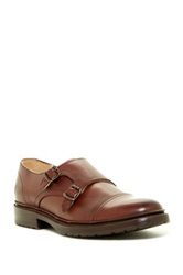 Frye James Lug Double Monk Strap Shoe Brown