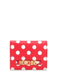 Moschino Dot Printed Leather Wallet Red White Dots