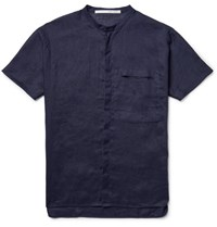 Isabel Benenato Grandad Collar Linen Shirt Midnight Blue
