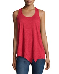 W By Wilt Mix Ribbed Racerback Asymmetric Tank Red Engine