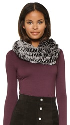 Adrienne Landau Fur Loop Scarf Grey