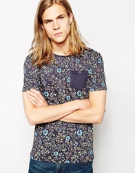 D Struct Floral T Shirt Blue
