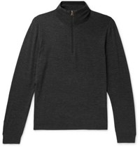 Paul Smith Merino Wool Half Zip Sweater Charcoal
