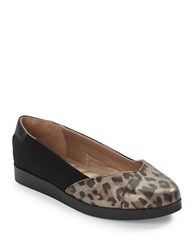 Me Too Bridget Slip On Platform Flats Grey Leopard