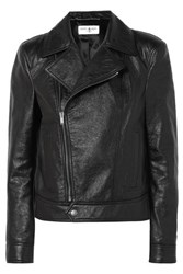 Saint Laurent Cropped Textured Leather Biker Jacket Black