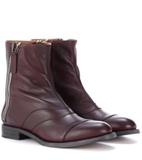 Chloe Lexie Leather Ankle Boots Purple