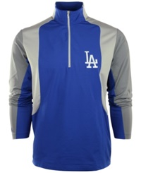 Antigua Men's Los Angeles Dodgers Quarter Zip Pullover Jacket Royalblue Gray