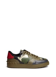 Valentino Camouflage Print Leather Canvas Sneakers Green