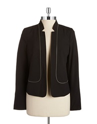Laundry By Shelli Segal Zipper Accented Open Front Blazer Black