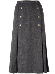 Chanel Vintage Button Accent Midi Skirt Grey