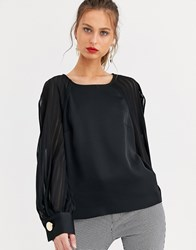 River Island Long Sleeve Blouse With Transparent Sleeves In Black
