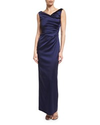 Talbot Runhof Colly Sleeveless Ruched Column Gown Royal Navy