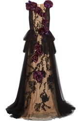 Marchesa Organza Appliqued Embellished Tulle Gown Black