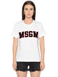 Msgm Printed Cotton Jersey T Shirt