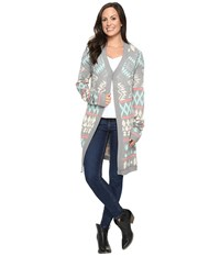 Rock And Roll Cowgirl Long Sleeve Cardigan 46 8459 Grey Women's Sweater Gray