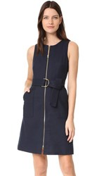 Diane Von Furstenberg Sleeveless Zip Front Dress Alexander Navy