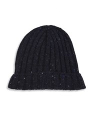 Brunello Cucinelli Ribbed Virgin Wool And Cashmere Blend Beanie Navy