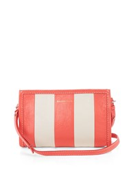 Balenciaga Bazar Leather Cross Body Bag Pink Stripe