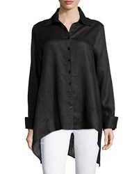 Neiman Marcus Linen Long Sleeve Draped Back Blouse Black