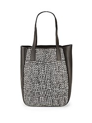 Derek Lam Bond Woven Leather Tote Bag Black White