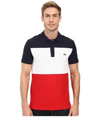 Lacoste Short Sleeve Color Block Textured Pique Polo Navy Blue White Cherry Red Men's Clothing Multi