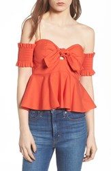 e465594aef Socialite Smocked Off The Shoulder Top Burnt Orange