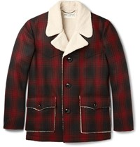 Saint Laurent Faux Shearling Trimmed Checked Wool Jacket Claret