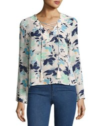 Lucca Couture Long Sleeve Tasseled Lace Up Floral Top White Pattern