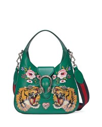 Gucci Dionysus Small Embroidered Tigers Hobo Bag Green Multi