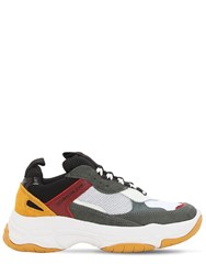Calvin Klein Jeans 60Mm Maya Suede And Leather Sneakers White Grey