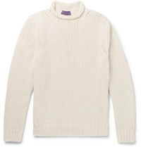 Ralph Lauren Purple Label Slim Fit Cashmere Sweater Cream