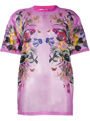 Givenchy Floral Print Sheer T Shirt Pink And Purple