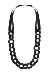 Topshop Faux Leather Circle Rope Necklace Black