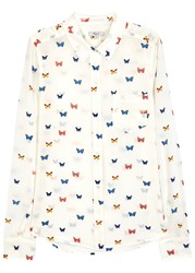 Rails Kate Butterfly Print Brushed Silk Shirt White